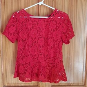 DKNY Red Lace Blouse, M